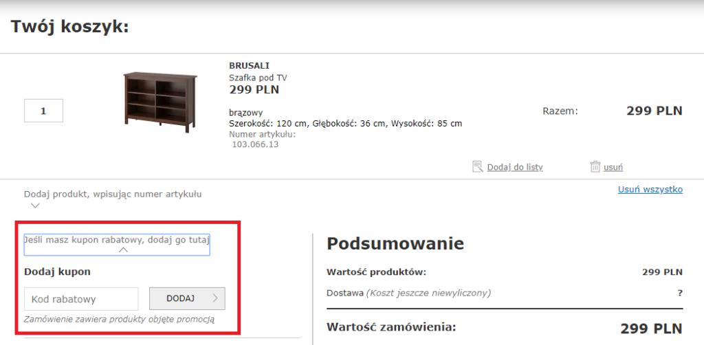 IKEA kupon rabatowy w koszyku